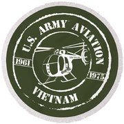 Army Aviation Vietnam Round Beach Towel