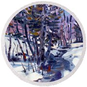 Aspen In The Snow Round Beach Towel