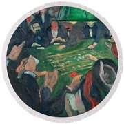 At The Roulette Table In Monte Carlo Round Beach Towel