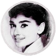 Audrey Hepburn, Vintage Actress Round Beach Towel