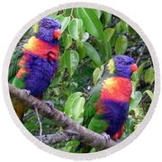 Australia - Two Brightly Coloured Lorikeets Round Beach Towel