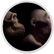 Australopithecus With Skull Round Beach Towel