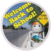 Back To School Little Robox9 Round Beach Towel