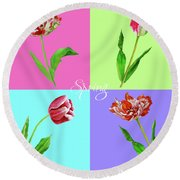 Background With Tulips Round Beach Towel