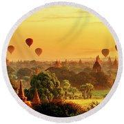 Bagan Pagodas And Hot Air Balloon Round Beach Towel by Pradeep Raja PRINTS