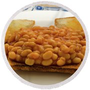 Baked Beans On Toast Round Beach Towel
