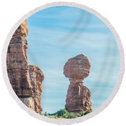Balanced Rock In Arches National Park Near Moab  Utah At Sunset Round Beach Towel