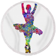 Ballet Dancer-colorful Round Beach Towel