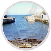 Ballintoy Harbour Round Beach Towel