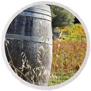 Barrel In The Vineyard Round Beach Towel