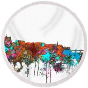 Basle Switzerland Skyline Round Beach Towel