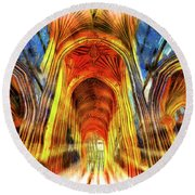 Bath Abbey Sun Rays Art Round Beach Towel