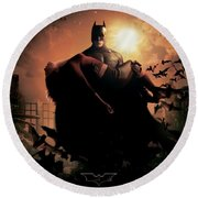 Batman Begins 2005 Round Beach Towel