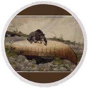 Bear And Canoe Round Beach Towel