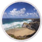 Bedruthan Steps Beach And Atlantic Surf In Summer Sun Cornwall  Round Beach Towel