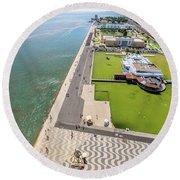 Belem Tower Panorama Round Beach Towel