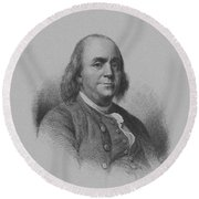 Benjamin Franklin Round Beach Towel