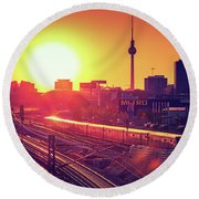 Berlin - Sunset Skyline Round Beach Towel
