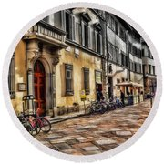 Bicycles In Florence Round Beach Towel