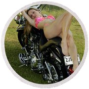 Bikes And Babes Round Beach Towel