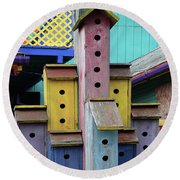Birdhouses For Colorful Birds 3 Round Beach Towel