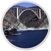 Bixby Creek Aka Rainbow Bridge Bridge Big Sur Photo  Round Beach Towel