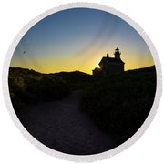 Block Island North Lighthouse Round Beach Towel