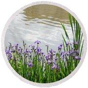 Blue Daffodils Round Beach Towel
