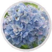 Blue Hydrangea At Rainy Garden In June, Japan Round Beach Towel