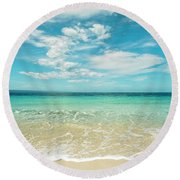 Pristine Blue Paradise Round Beach Towel