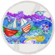 2 Boats And Yellow Fish Round Beach Towel