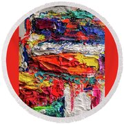 Boom Of The Tingling Strings Round Beach Towel