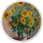 Bouquet Of Sunflowers Round Beach Towel
