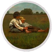 Boys In A Pasture Round Beach Towel