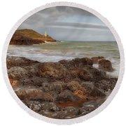 Bracelet Bay And Mumbles Lighthouse Round Beach Towel