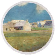 Breton Village Round Beach Towel