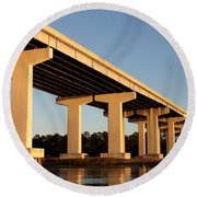 Bridge Pilings Round Beach Towel