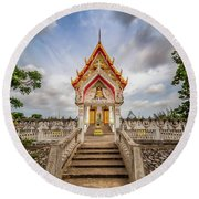 Buddhist Temple Round Beach Towel by Adrian Evans
