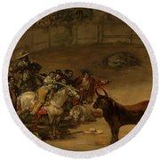 Bullfight - Suerte De Varas Round Beach Towel