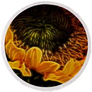 Burning Sun.. Round Beach Towel