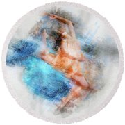 Butterfly Ballerina Watercolor   Round Beach Towel