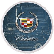 Cadillac 3 D Badge Over Cadillac Escalade Blueprint  Round Beach Towel
