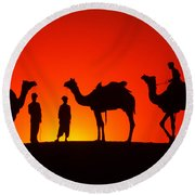 Camels At Sunset Round Beach Towel