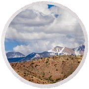 Canyon Badlands And Colorado Rockies Lanadscape Round Beach Towel