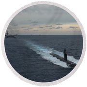 Carrier Strike Group Formation Of Ships Round Beach Towel
