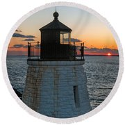 Castle Hill Light Newport Rhode Island Round Beach Towel