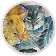 Kitty And Kat Round Beach Towel