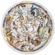 Celestial Planisphere, 1660 Round Beach Towel