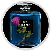 Chanel With Rose Round Beach Towel