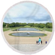 Chantilly Castle Garden In France Round Beach Towel